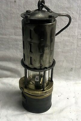 N°006 Wetterlampe Grubenlampe Brass Miners Safety Lamp Old Miners Lamps