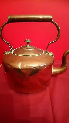 Large Antique Copper Tea Pot, Good Condition & Has Been Used