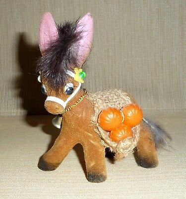 """Flocked Donkey or Burro with Faux Fur Mane & Tail - """"G"""" Made in Hong Kong Label"""