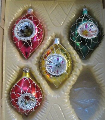 lot of 4 vintage glass christmas ornaments teardrop indented old world romania - Vintage Glass Christmas Ornaments