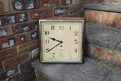 Antique Garrard  8 Day Oak Wall Clock School Waiting Room 1930S