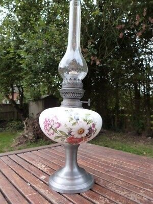 Lovely Unusual Antique Vintage Ceramic Pewter & Glass Oil Lamp.