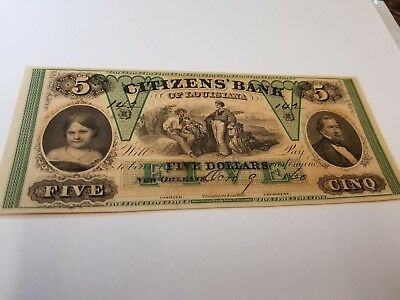 Citizens bank of louisiana $5  1860  numbered and dated. Superb