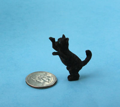 Adorable 1:12 Scale Dollhouse Miniature Standing/Begging Black Cat #S2916