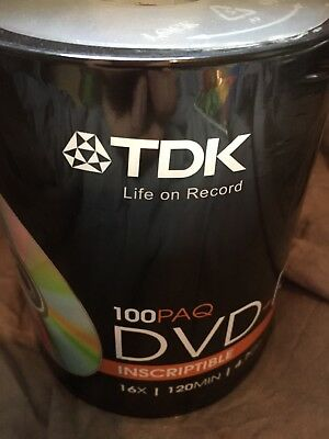 TDK DVD-R 100 pack Recordable 16x 120 min 4.7 GB