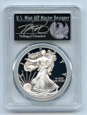 2018 S $1 American Proof Silver Eagle PCGS PR70DCAM FS Thomas Cleveland Freedom