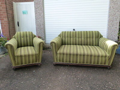 ORIGINAL ANTIQUE VINTAGE 1920s UPHOLSTERED TWO SEATER SOFA & ARMCHAIR.