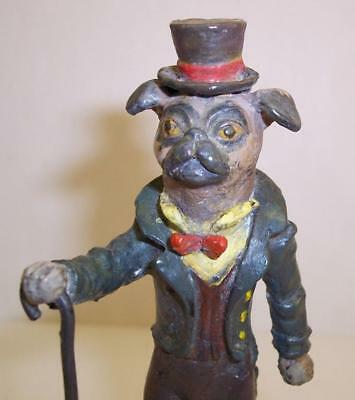 Rare COLD PAINTED BRONZE Vintage GENTLEMAN PUG DOG Miniature TOP HAT & TAILS