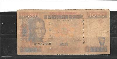 Guinea #37 1998 Good Circ 1000 Franc New Banknote Bill Note Paper Money