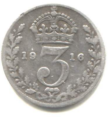 Silver 1916 Three Pence Coin - United Kingdom Great Britain - King George V