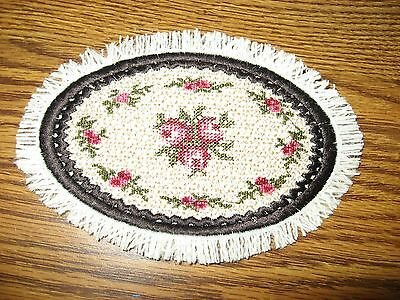 Hand Crafted Victorian Pink Roses Edged In Black  Mini Miniature  Dollhouse Rug