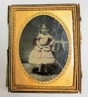 Antique~Civil War Era~Victorian~Tintype~Plate~Young Girl~Fan~Half Leather Case