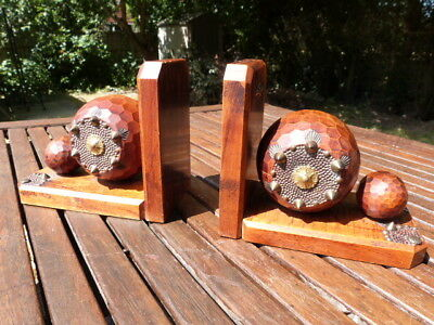 Lovely Pair Of French Antique Vintage Hand Carved Ornate Studded Boules Bookends