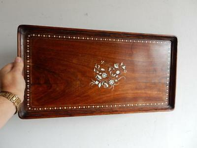 really old TRAY maids wood in laid TEA TRAY