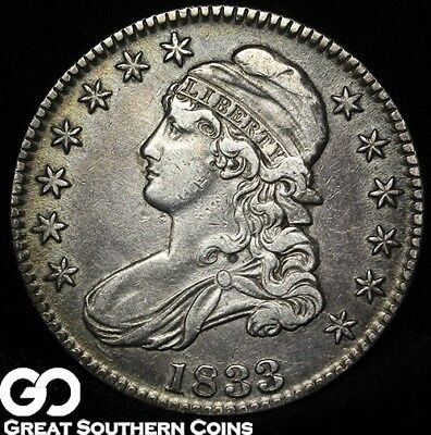 1833 Capped Bust Half Dollar, Choice XF+ Silver Type