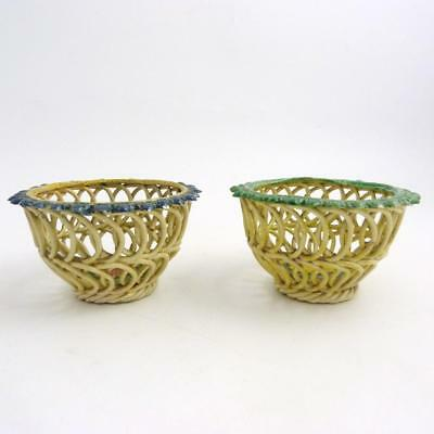 Pair Of French Cream Ware Faience Woven Baskets, 19Th Century