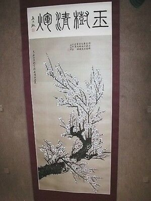Chinese/oriental White Blossom On A Tree Branch Hand Painted Wall Hanging Scroll