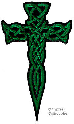 IRISH HERITAGE BIKER PATCH CELTIC DAGGER CROSS iron-on embroidered KNIFE GREEN