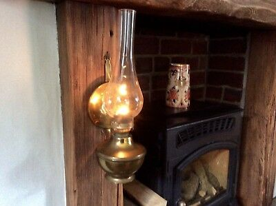 A Vintage Brass Wall Hang Or Free Stand Oil Lamp In Full Working Order