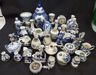 Vintage Collection Of Hand Painted 35+ Pcs DELFT Decorative Items - B73
