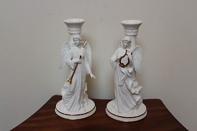 """Lenox """"angels Of Light"""" Bone China Candlesticks With 24K Gold Accents ~ Set Of 2"""
