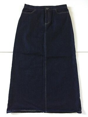 Gap Blue Jean Denim Skirt Size 10 Pencil Dark Blue Modest Long Stretch Pristine