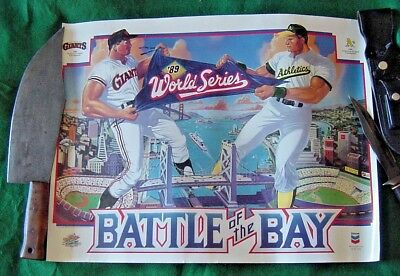 Old EXC Baseball Poster 1989 World Series OAKLAND A's Athletics & SF Giants FrSp