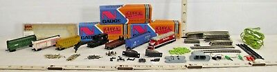 Atlas 7 Piece N Scale Train Set With Red Santa Fe Diesel Engine Set Sharp! Lot 2
