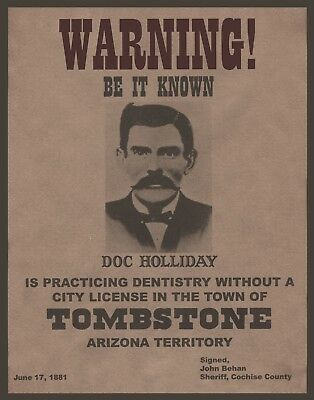 "DOC HOLIDAY wanted poster, 14""x11"" - Western outlaw - OLD WEST - Arizona"
