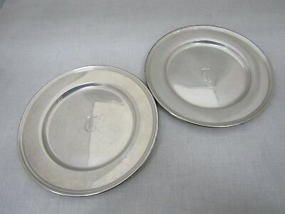 """Wallace Sterling Silver 6"""" Plate Monogrammed T 2899 Lot of 2"""