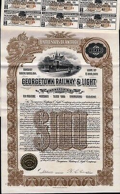 $100 Georgetown Railway & Light Co Gold Bond.1909, + 46 Coupons