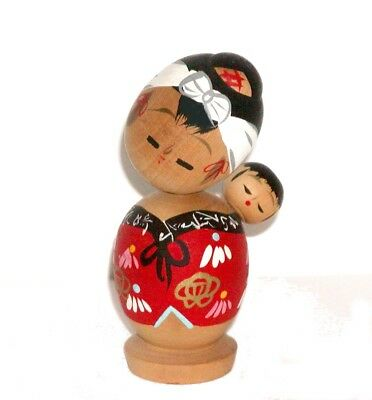 2 Japanese Vintage Wood Kokeshi Dolls Mother & Baby - A Very Special Bond !