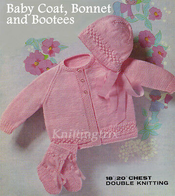 Baby Coat, Bonnet And Booties - Copy Of Vintage Knitting Pattern