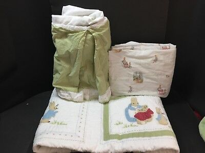 3pc Pottery Barn Kids Toddler QUILT SHEET Skirt PETER RABBIT Beatrix Potter Crib