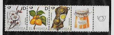 SLOVENIA Sc 606-8 NH issue of 2005 - FRUITS - STRIP W/LABLE
