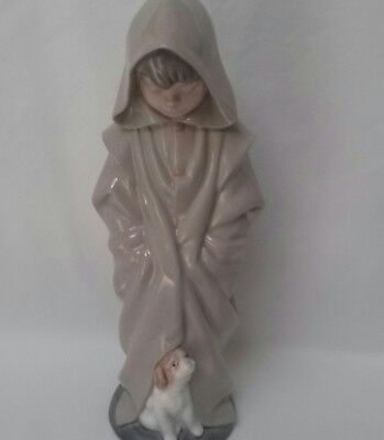 """Lladro Boy With Dog At His Feet, Long Coat With Hood, 10"""" Tall, Nice One!"""