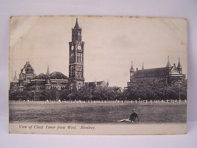 **vintage View Of Clock Tower From West Bombay Postcard**