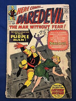 Daredevil #4 (1964 Marvel) 1st sappearance of Purple Man (Killgrave) Silver Age