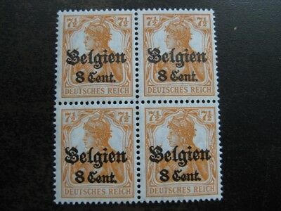 GERMANY BELGIUM WWI OCCUPATION mint never hinged stamp block of 4!
