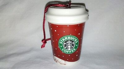 "EXC Starbucks Red Cup Holiday/Christmas 3"" Ornament Snow/Couple/Gifts 2007"