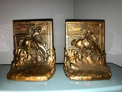 Vintage Copper / Bronze Rodeo Bronco Riding Western Book Ends