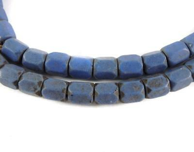 Opaque Russian Blues Trade Beads Faceted African 26 Inch