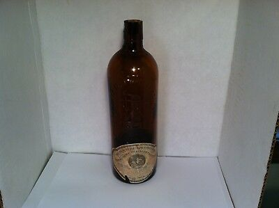 Duffy Malt Whiskey Co amber monogram bottle with both paper labels Rochester, NY