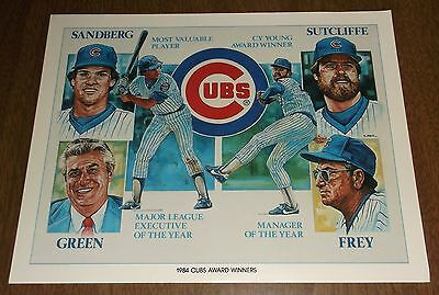 1984 Unocal Chicago Cubs Illustration Print - 1984 Cubs Award Winners - Sandberg