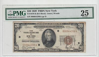 (Fr-1870b)  1929 $20 Federal Reserve Bank Note (New York) PMG 25 Very Fine