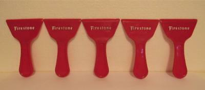 5 pc FIRESTONE TIRES ICE SCRAPER LOT GAS STATION ADVERTISING PREMIUM RED & WHITE