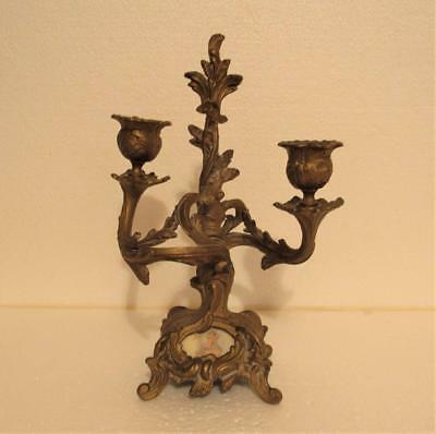 Antique Nouveau Spelter Candlestick With Angel Picture Estate 2 Post As-Is