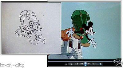 Walt Disney Vintage Original Production cel Drawing c1936 Mickey's Elephant