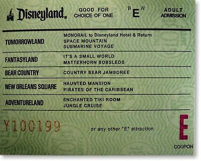 8x10 inch Color E-Ticket over sized image print of the Disneyland E ticket