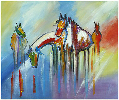 """24x20"""" Hand Painted Contemporary Abstract Horse Oil Painting on Canvas Wall Art"""